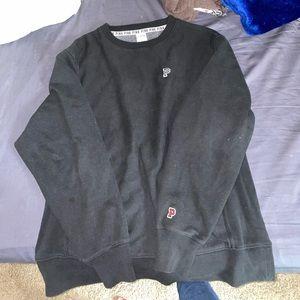 Cozy black pullover sweatshirt pink collegiate